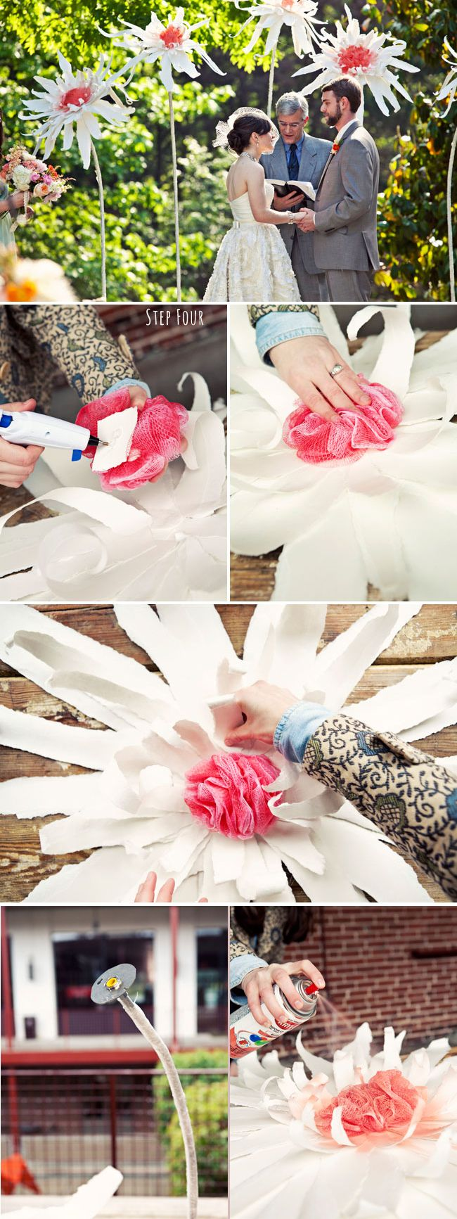 diy giant paper flowers - tutorial from green wedding shoes, here: http://greenweddingshoes.com/diy-giant-flowers/ omg can't believe these are my friends!! total celebs now.