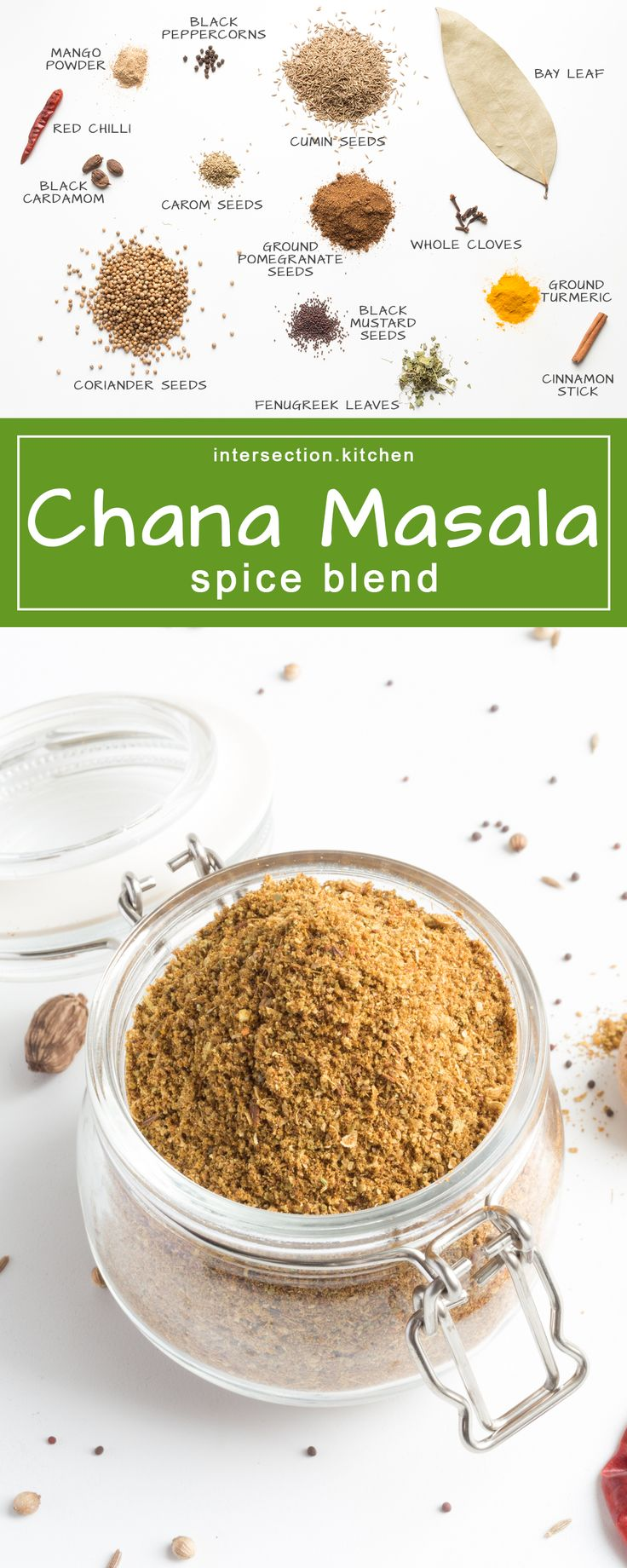 Chana Masala Spice Blend. Perfect blend of spices for a delicious, tangy, and not too hot chickpea curry. #chana-masala #spices #recipe