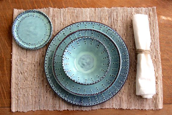 Dinnerware Set - 4 Pieces - Dinner Salad Dessert Bread Plate and Bowl - Aqua Mist Creamy White Dark Teal - French Country - Made to Order