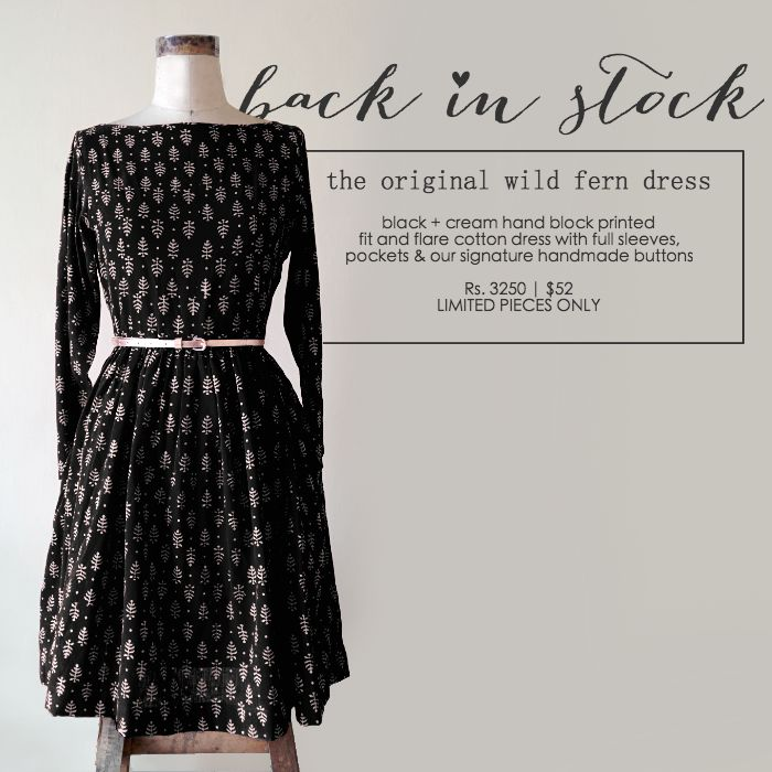 This black and cream fit & flare dress is crafted from hand block printed cotton fabric. The fabric is printed with ethnic fern motifs.  You can shop it here: http://etsy.me/1P2fw8Y