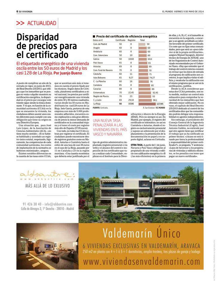 Artículo en El Mundo sobre el precio del Certificado Energético con los datos de Certicalia  http://www.certicalia.com/