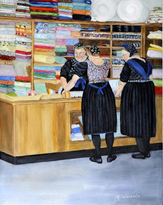 Staphorst Store Oil on Canvas Dutch Painting by DutchGirlStudio