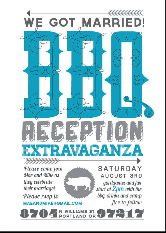 Casual Customizable Bbq Wedding Reception By Srinvitations On Etsy