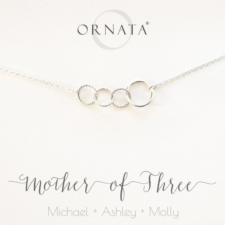 """""""Mother of Three"""" Interlocking Personalized Sterling Silver Necklace 
