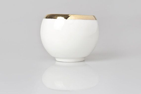 White Handmade Cup Small Coffee Cup Decorated with by KinaCeramics