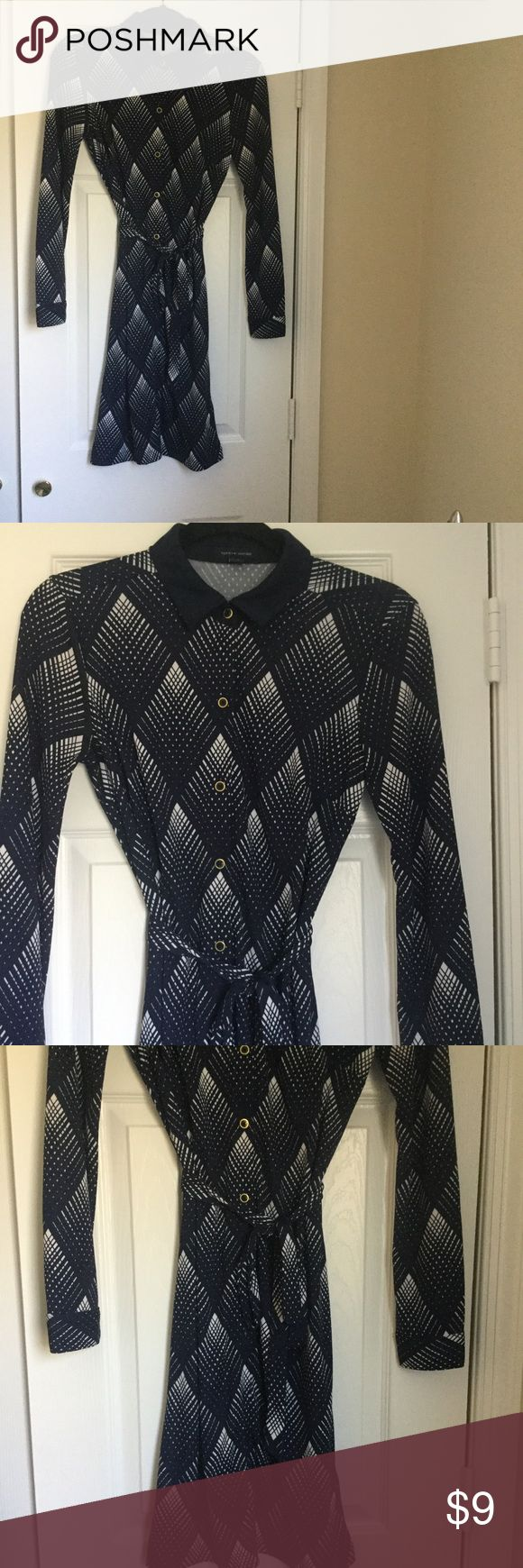 Classic Shirt Dress Dark blue and white stripes. Long sleeve. Dresses Long Sleeve