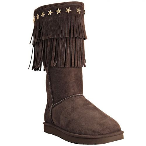 Jimmy Choo Ugg Suede Sora Fringe Shearling Boots Chocolate