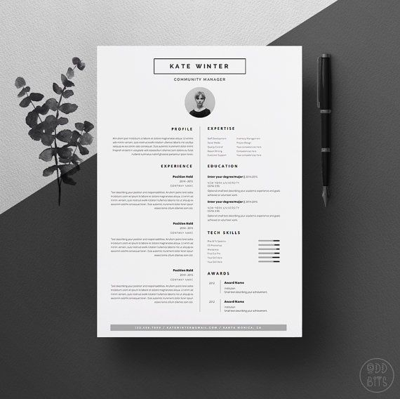 "Minimal Resume Template for Word 1 & 2 Page CV Template, Icon Set, Cover Letter | Instant Download | The ""Clean-Cut"""