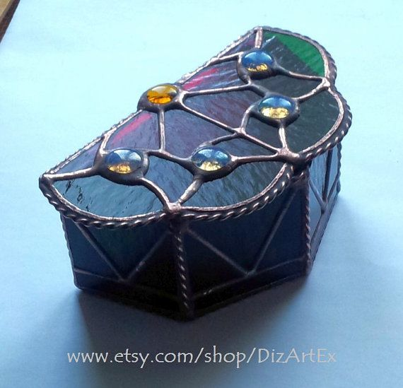 Box. Flower-Box of Stained Glass Handmade. Home decor. by DizArtEx