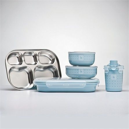 Frosted Blueberry Stainless Steel Dishware Set $70