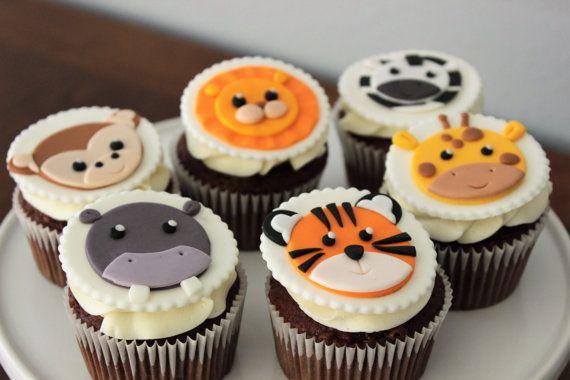 12 safari animales comestibles fondant cupcake los primeros.