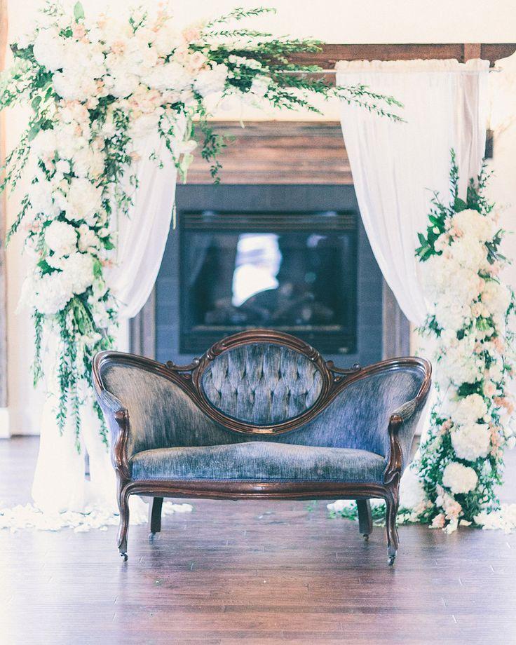 Vintage blue velvet sofa and gorgeous floral