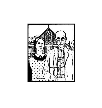 American Gothic by Grant Wood rubber stamp by terbearco on Etsy
