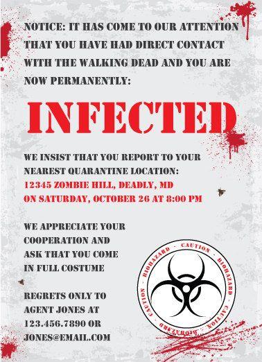 více než 25 nejlepších nápadů na pinterestu na téma zombie, Party invitations