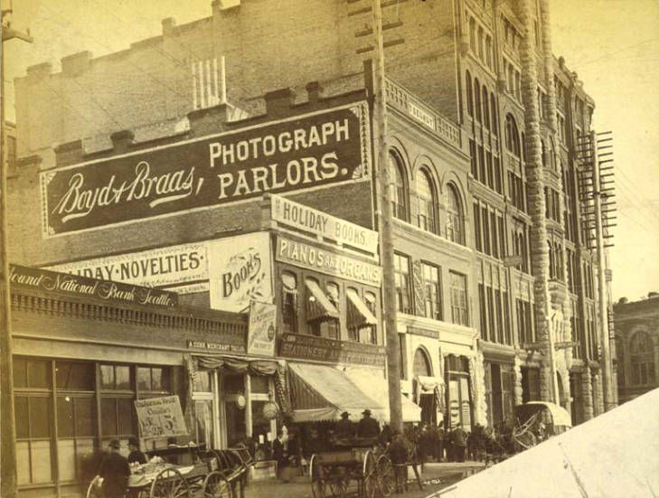 East Side Of 1st Ave Between James St And Cherry St Seattle Washington Ca 1890 Seattle History Western Washington