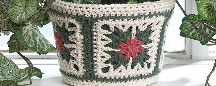 красивое кашпо для цветов крючком узором бабушкин квадрат