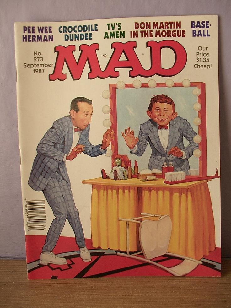 vintage 1980's MAD magazine, 1987, Pee Wee Herman