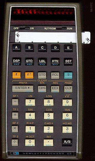 HP 65 - 100 step programmable with programs stored on magnetic cards smaller than a stick of gum.