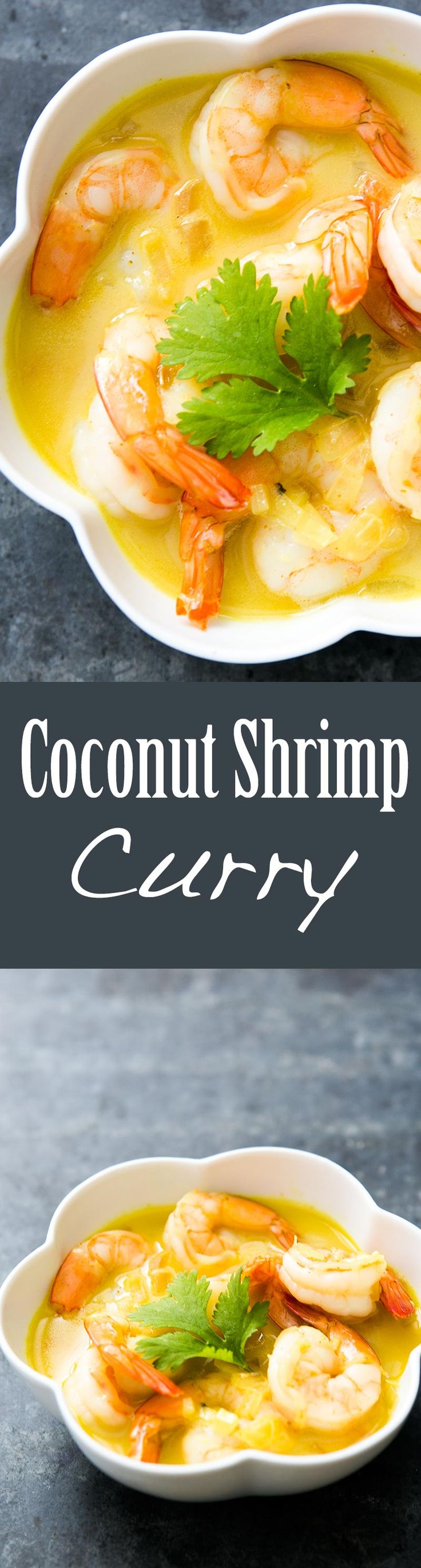 Delicious Coconut Curry Shrimp! Quick and EASY, perfect for a midweek meal. Takes only 30 minutes to make! On SimplyRecipes.com