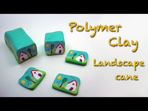Diy Polymer clay / Fimo tutorial. How to make a country landscape cane - YouTube
