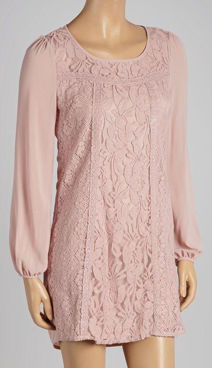 Dusty Pink Lace Shift Dress