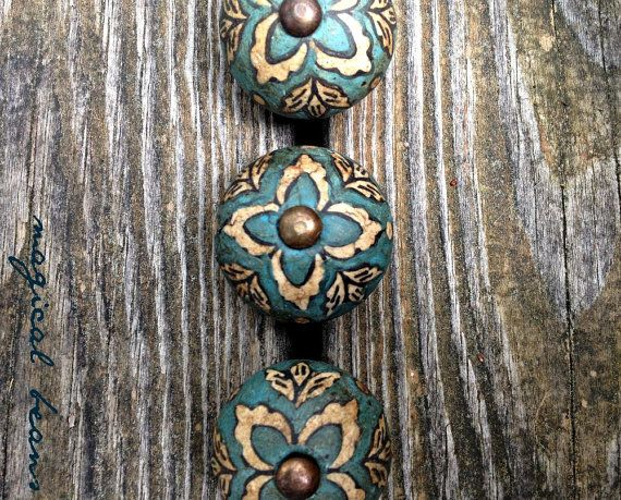 Vintage Inspired Teal Blue Drawer Knob / by MagicalBeansHome