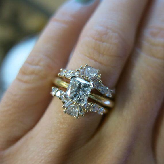 Elegant Yellow Gold F Princess Cut Diamond Engagement Ring with Diamond Jacket Enhancer Band Wedding Set