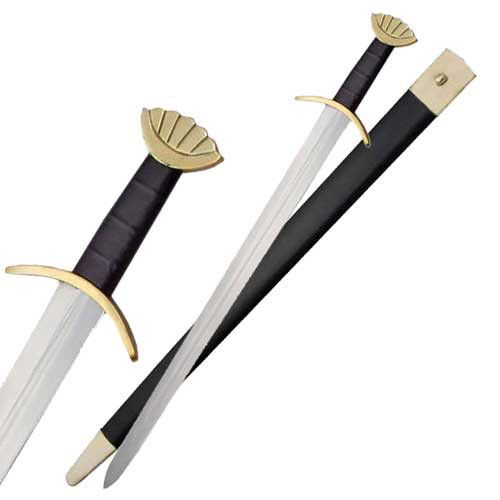 This Viking Sword has an overall length of 36.5 inches. The blade of this sword is constructed from stainless steel with a wood handle wrapped with imitation leather. The Viking Sword includes a leath