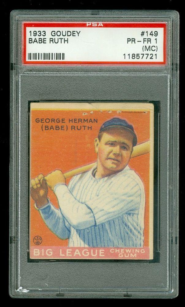 1933 Goudey Super Rare Babe Ruth George Herman 149 Psa 1 Pr Fr Mc Indian Gum Babe Ruth Babe Ruth Baseball Baseball Cards