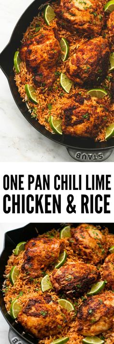 One Pan Chili Lime Chicken and Rice is made in one pan with minimal ingredients but is packed with amazing flavor! Your entire family will love this easy 3o minute meal!