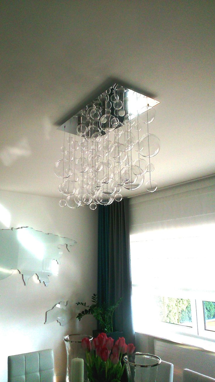 Beautiful BUBBLES! Crystal chandelier in modern interior.