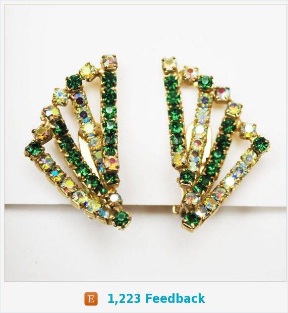 Hobe Bead earrings - Green Rhinestone - AB aurora borealis Crystal - gold plated - clip on earring https://www.etsy.com/serendipitytreasure/listing/547048293/hobe-bead-earrings-green-rhinestone-ab?ref=listing_published_alert