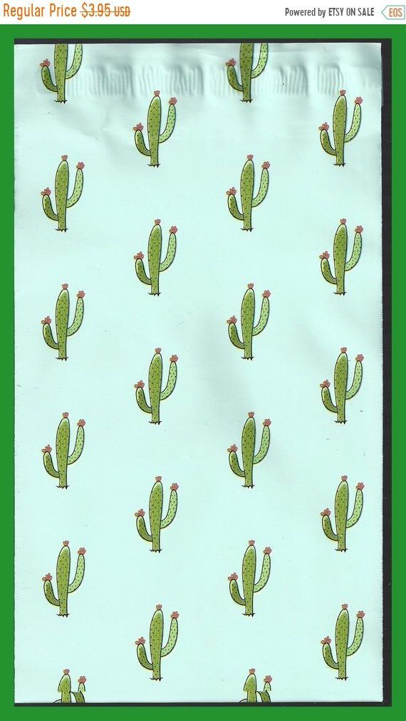 Cactus Southwest Designer Mailing Bags Poly Adhesive Peel Off 6 X 9 Inch Set Of 10 Southwest Design Red Flowers