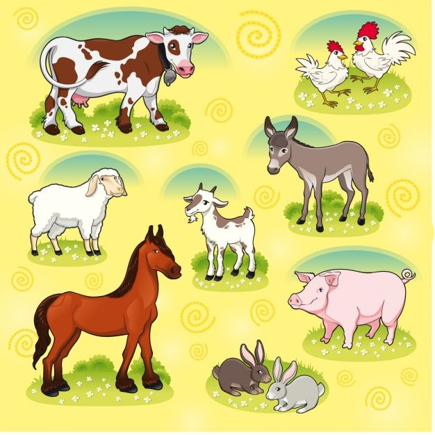 Farm animals collection Free Vector