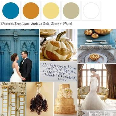 Blue, Latte, Antique Gold, Silver + White