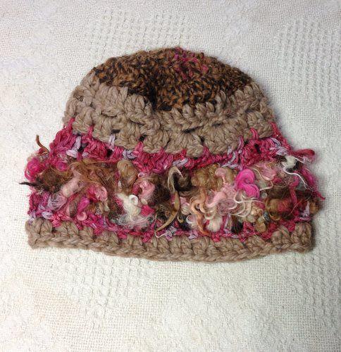 Art Yarn Hat - Tan, Browns, Pink, $35.00