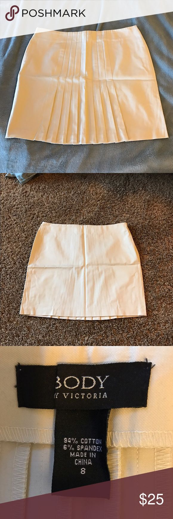 Body by Victoria skirt, size 8, light Creme color Super cute skirt, size 8, new without tag, light Creme / Ivory color, nice detailing on the back of skirt, body by Victoria secret Victoria's Secret Skirts Mini