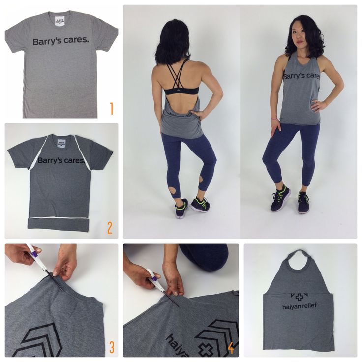 diy to build your fitness wardrobe!  You probably have tanks and camis in your normal wardrobe to borrow from, so no need to spend big on your fitness tops. You can also pull your old t-shirts out of the back of your drawer and give them new life with these work-out tee diys!