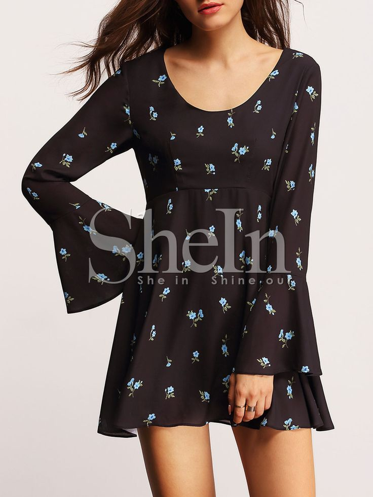 Black Long Sleeve Scoop Neck Ruffle Floral Dress 21.99