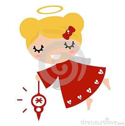 Beautiful little christmas angel. Vector Illustration