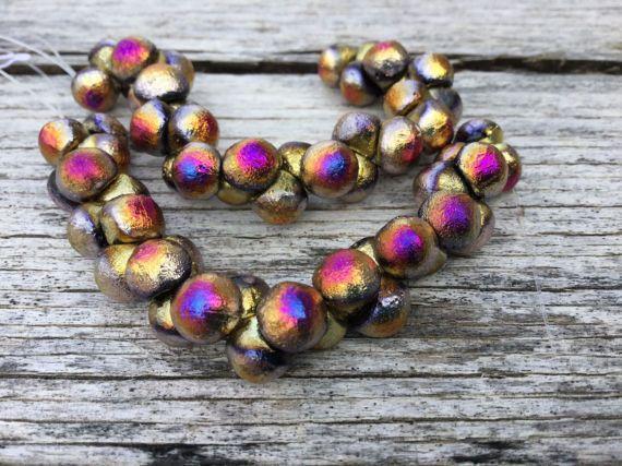 7mm california purple etched wide cap mushroom czech beads