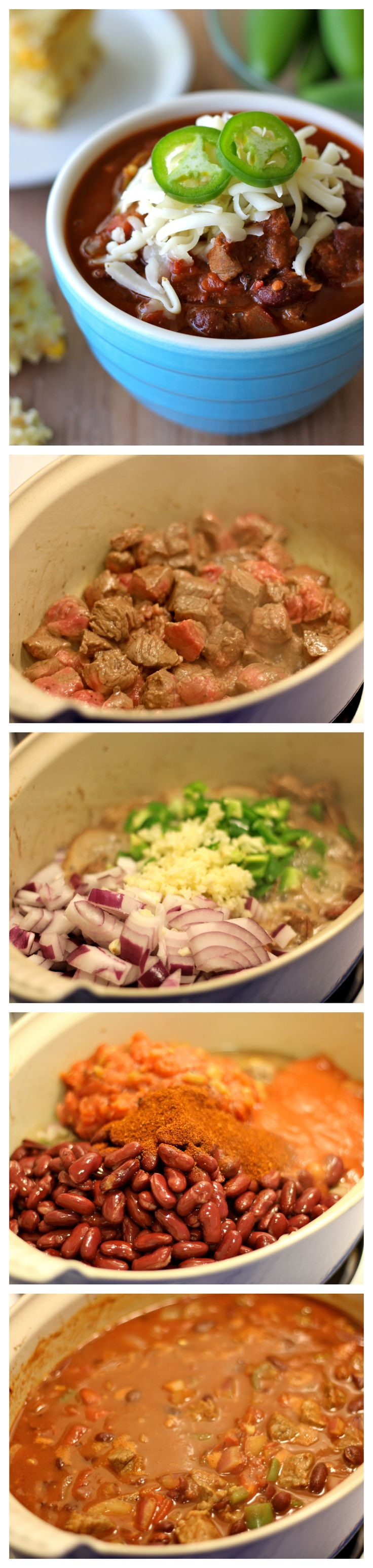 Steak Chili - A cozy, comforting chili made with the most unbelievably tender pieces of steak!