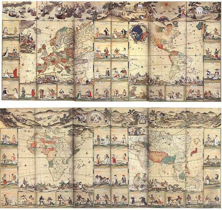 """World Map with Pictures of Forty-eight Foreign Peoples"" late 18th century MS. a pair of six-fold screens Kobe City Museum of ""Namban"""
