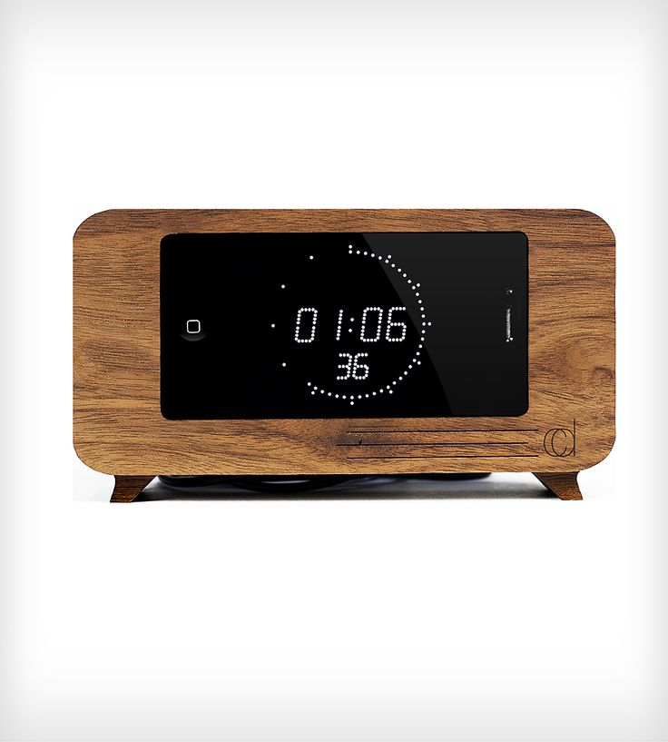 Walnut Alarm Clock iPhone Dock by C-Dock on Scoutmob Shoppe. A horizontal docking station that looks like an alarm clock. Brilliant!