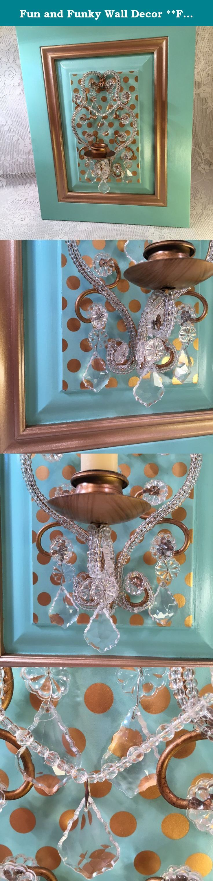 "Fun and Funky Wall Decor **FREE Shipping**. Here you have it! A funky and fun wall hanging for your unique home. The old fashioned crystal candleholder with bronze accents is set off by the bold turquoise background. Polka dots bring the fun character to life. Maybe you have seen this syroco candleholder before at grandma's house - but this is something different and new. Take it home or give as a gift to your eclectic friend and it is sure to bring a smile :-) ~~ Measurements: 18""t x 14""w…"
