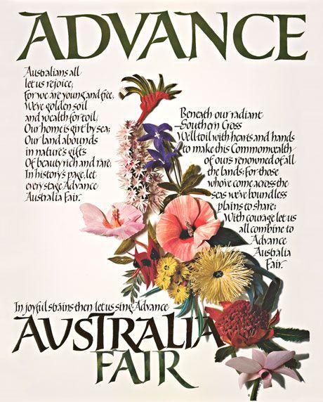 Advance Australia Fair calligraphy print