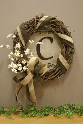 grapevine wreath with monogrammed burlap I am making this but with a wooden initial attached