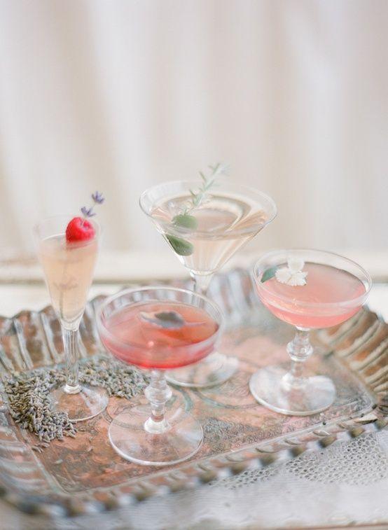 Fancy cocktails. Herb garnish, flower garnish, fruit garnish. Pink and peach. via That Inspirational Girl
