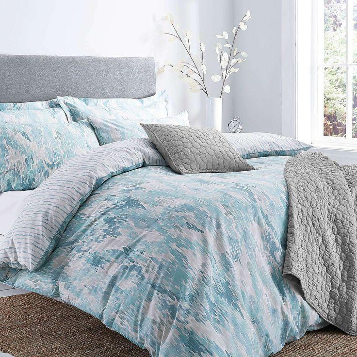 Waves Teal Duvet Cover and Pillowcase Set | Dunelm