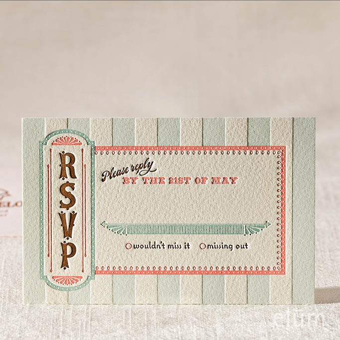 SWEET SHOPPE | Elum Couture Vol. 3, Letterpress Reply Card | Elum Designs, Letterpress Stationery, Invitations & Curator of Designer Paper Goods. Nothing short of small works of art. Sweet tooth, delectable design, vintage candy, old-fashioned ice cream parlors, rsvp. Our proud WINNER of the 2013 Louie Awards Wedding Invitation Category and a 2012 How International Design Award. The Sweet Shoppe letterpress wedding invitation by Elum. candy & ice cream inspired invitations.